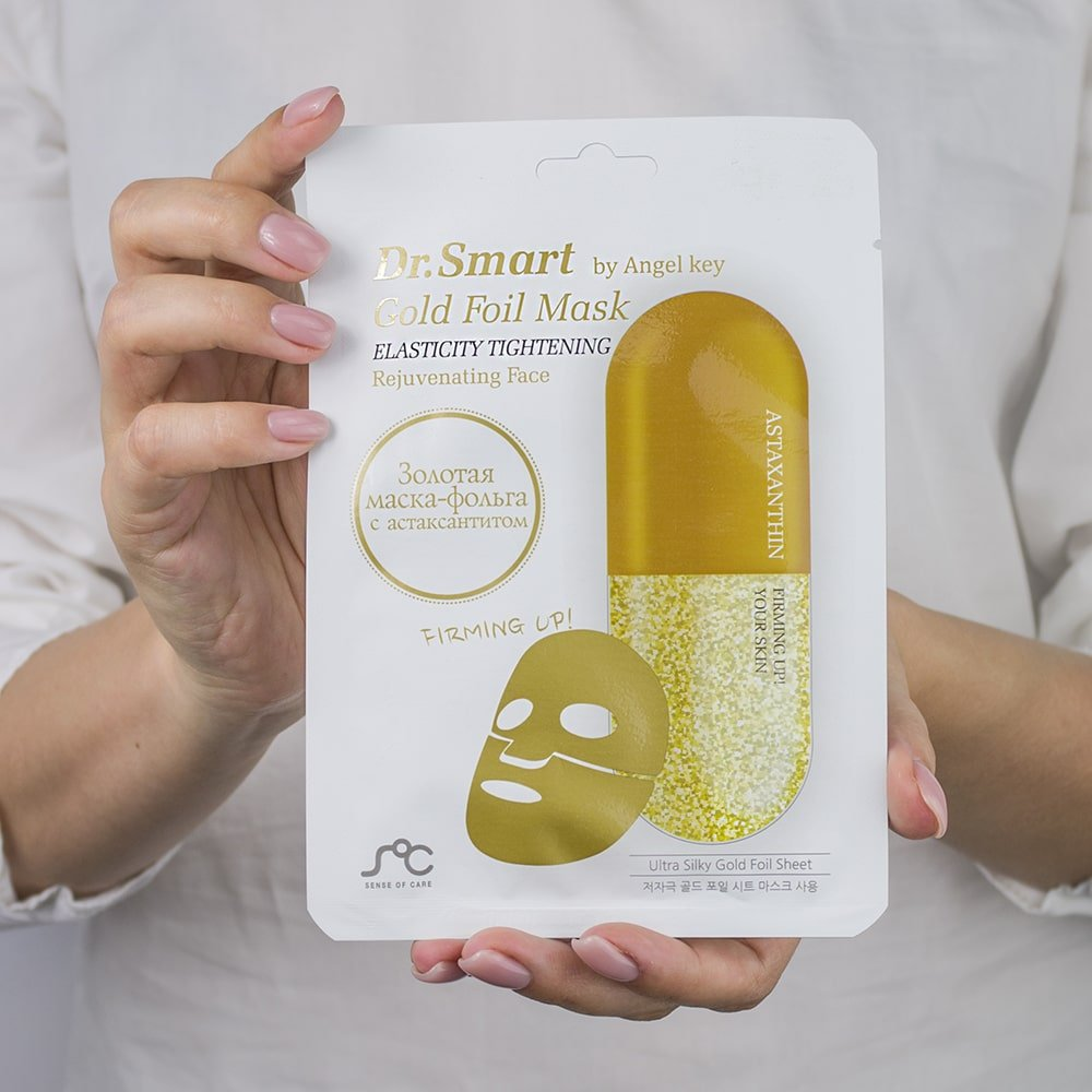 Маска  для лица с астаксантином, омолаживающая Dr. Smart Gold Foil Mask, 1 шт в интернет-магазине Etomarta.com